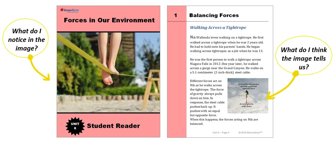 Student reader with photo of a tightroap