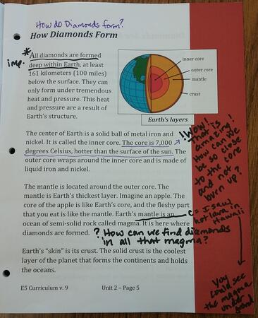 Student reader with student's annotated notes